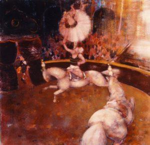 Circo equestre con acrobati - Olio acrilici su tela cm 50x50