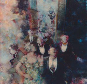 Accadimento in blu, acrilici su tela, cm 50x50