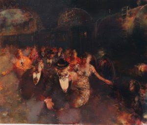 Alla stazione (1989), acrilici su tela, cm 50x60