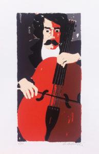 Autoritratto con viola(1975), serigrafia su carta cm 50x35