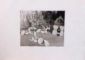 Circo equestre, acquaforte e acquatinta su carta rosaspina cm 35x50
