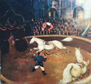 Circo equestre, acrilici e olio su tela, cm 30x30
