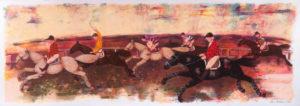 Corsa ippica, serigrafia su carta cm 35x100