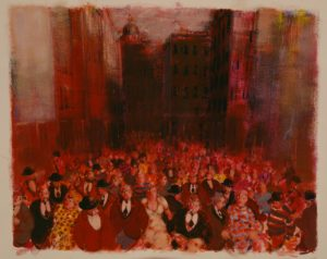 Folla urbana, bozzetto acrilici su cartoncino cm 60x80