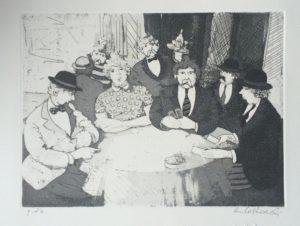 Giocatori di carte 2, acquaforte+acquatinta su carta rosaspina cm 35x50 (1994)