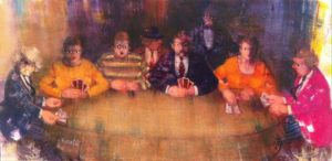Gioco al tavolo con autoritratto - Acrilici su Tela cm 40x70
