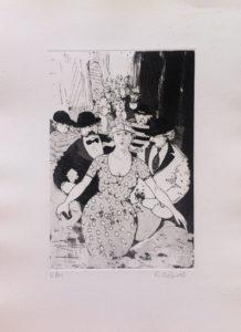 I corteggiatori, acquaforte e acquatinta su carta rosaspina cm 50x35