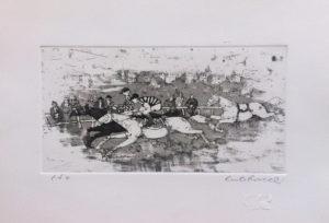 Il derby, acquaforte e acquatinta su carta rosaspina cm 25x35