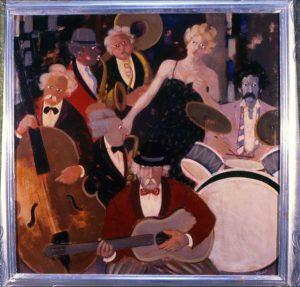 Jazz band n. 6. acrilici e olio su tela (ì988),cm 90x90