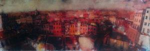 Panorama urbano, acrilici su tela cm 35x100