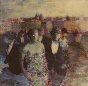 Personaggi su sfondo urbano (1985), acrilici e olio su tela,cm 30x30