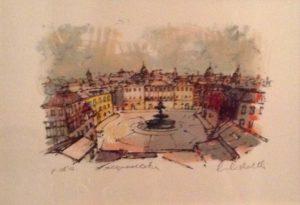 Piazza Mastai, serigrafia a 2 colori acquelellata, cm 25x35