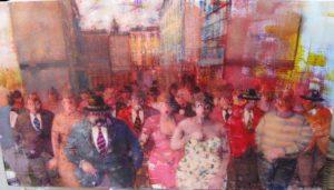 Personaggi in piazza n.2 - Acrilici su Tela cm 50x80