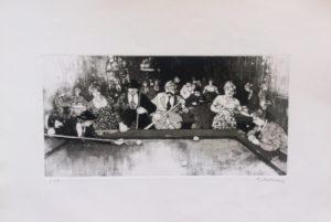 Ritrovo con biliardo, aqquaforte e acquatinta su carta rosaspina cm 50x70