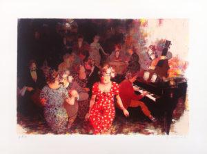 Ritrovo con musica, serigrafia su carta cm 60x80