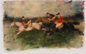 Studio per una corsa di cavalli, acrilici su cartoncino cm 40x50