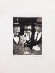 Tre personaggi, acquaforte e acquatinta su carta pescia cm 50x35 (1)