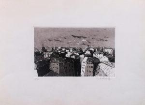 Veduta urbana, acquaforte e acquatinta su carta pescia cm 25x35