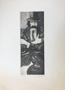 autoritratto acquatinta su carta rosaspina cm 35x25