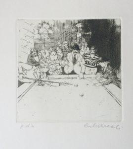 biliardo 2, acquaforte+acquatinta su carta rosaspina cm 50x35