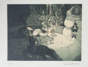 circo, acquaforte+acquatinta su carta rosaspina cm 35x50