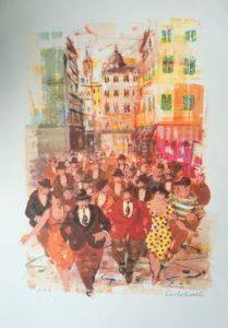 folla urbana, serigrafia su carta cm 50x35