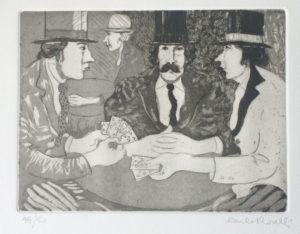 giocatori di carte, acquaforte+acquatinta su carta pescia cm 25x35 (1976)