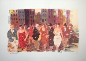 personaggi in piazza, serigrafia su carta cm 50x70