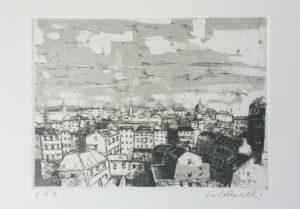 scorcio urbano, acquaforte+acquatinta su carta rosaspina cm 25x35 (2005)